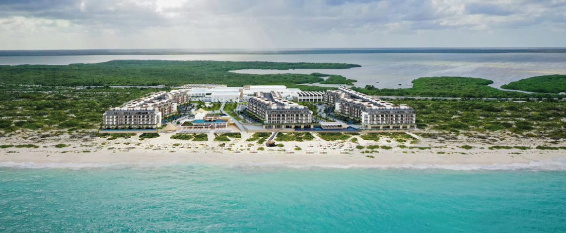 majestic elegance playa mujeres aerial view of the resort